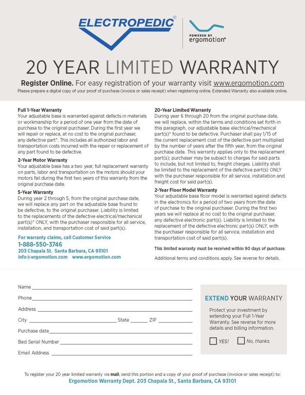 Electropedic Adjustable Base Warranty