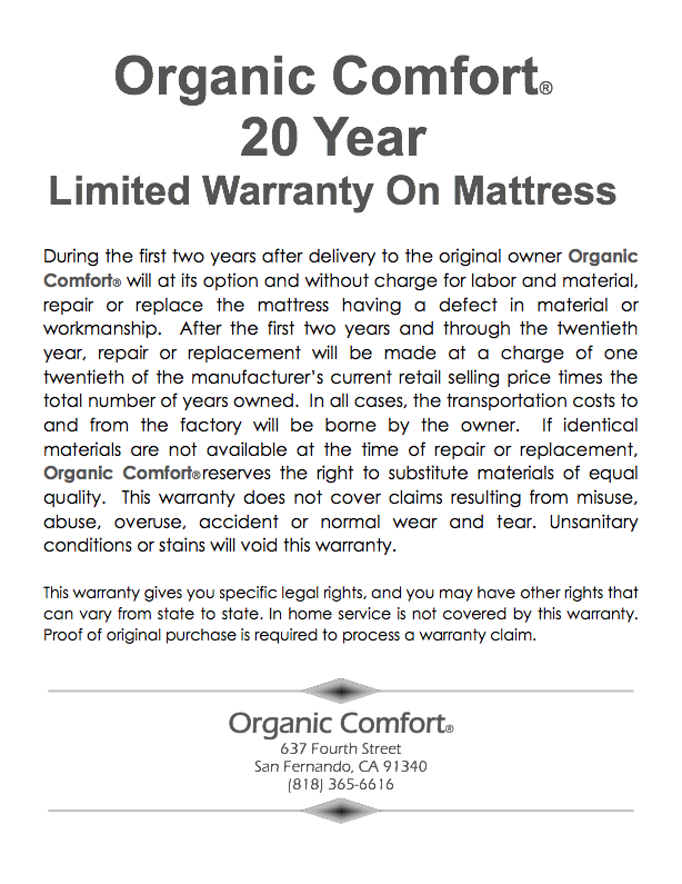 Electropedic  Organic Mattress Warranty